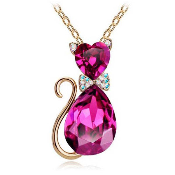 Austrian Crystal Cat Pendant Chain Necklace - Cat Roar Store