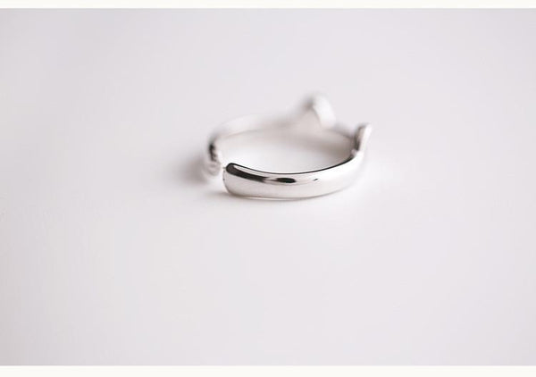 Solid Sterling Silver Cat Ear Ring