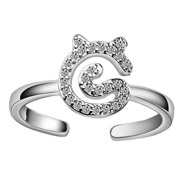 Silver Plated Ring with CZ Cat Adjustable Ring