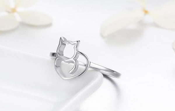 925 Sterling Silver Cat & Heart Ring - Cat Roar Store