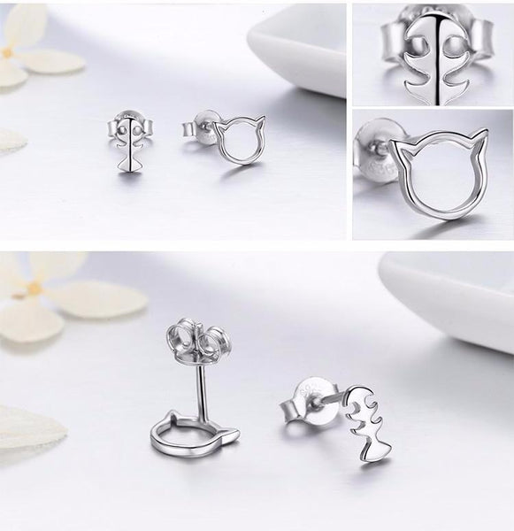 Sterling Silver Cat and Fish Stud Earrings