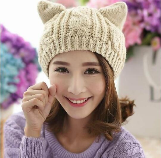 Cat Ear Knitted Beanie Hat - Cat Roar Store