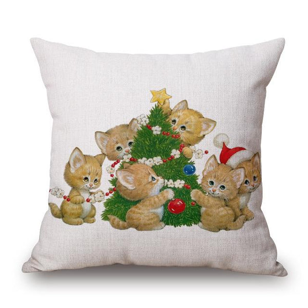 Christmas Decor Cat Linen Pillow Case - Cat Roar Store