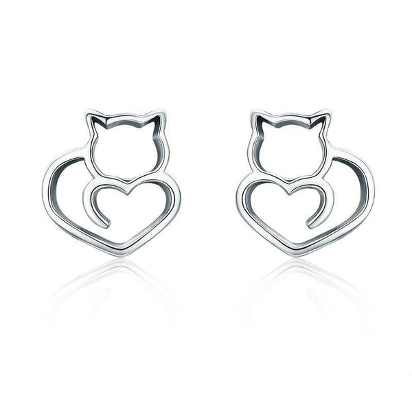 925 Sterling Silver Cute Cat Heart Earrings