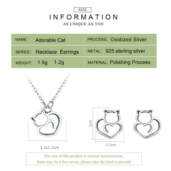Sterling Silver Cat Heart Necklace and Earrings Set