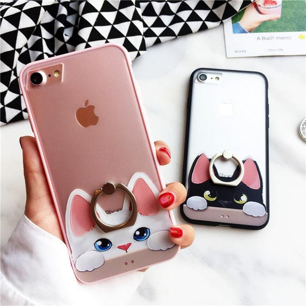 Cute Cat Cell Phone Case w/Ring For iPhone 6 6S 7 8 Plus - Cat Roar Store