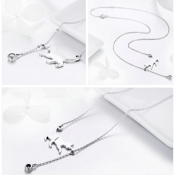 Sterling Silver Cute Cat CZ Necklace