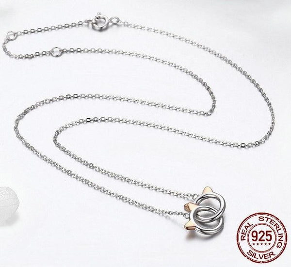 925 Sterling Silver Linked Cats Necklace