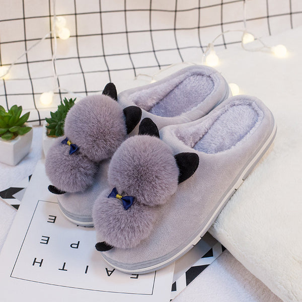 Cute Furry Cat Indoor Home Slippers