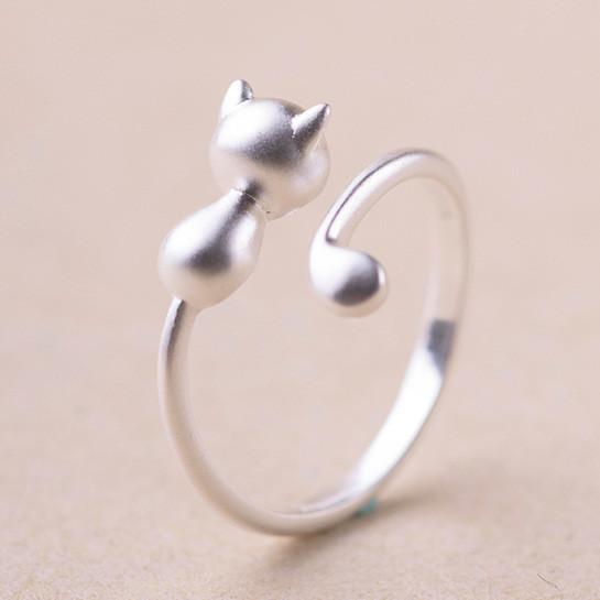 Solid Sterling Silver Hugging Cat Ring