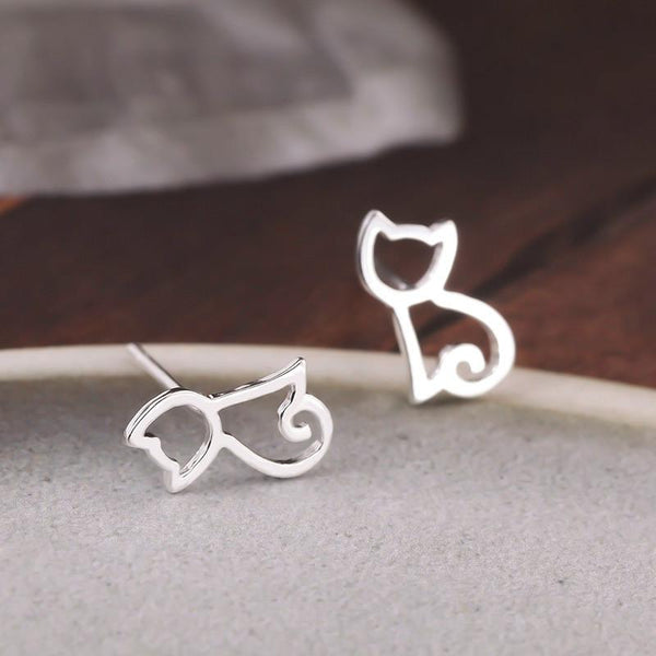 Solid Sterling Silver Cute Cat Earrings - Cat Roar Store