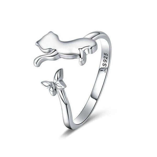 Sterling Silver Cat and Butterfly Ring