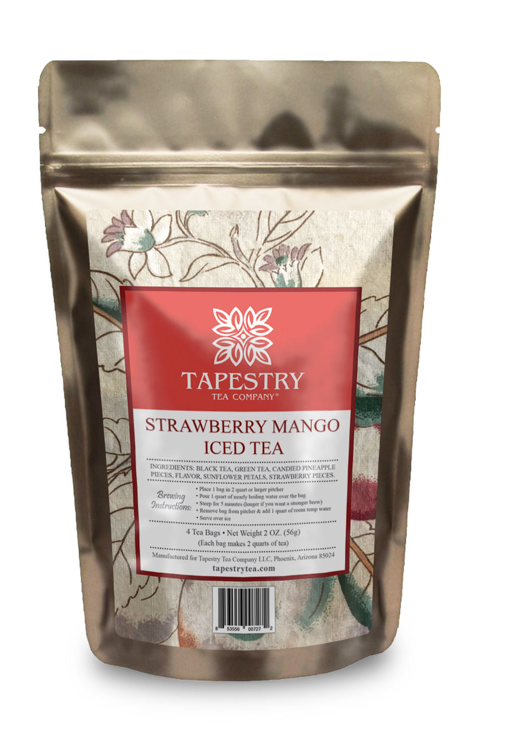 Tapestry Tea Strawberry Mango Black and Green Tea Fruit Blend Iced Tea - Family Size Iced Tea Bags