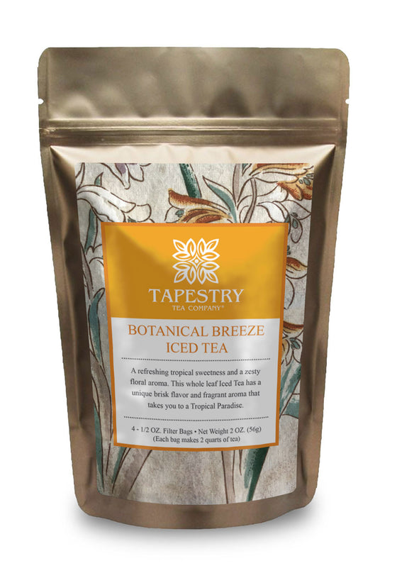 [Tapestry Tea Botanical Breeze Passion Fruit Iced Tea Blend front of pouch] - Tapestry Tea Company    ] - Tapestry Tea Company