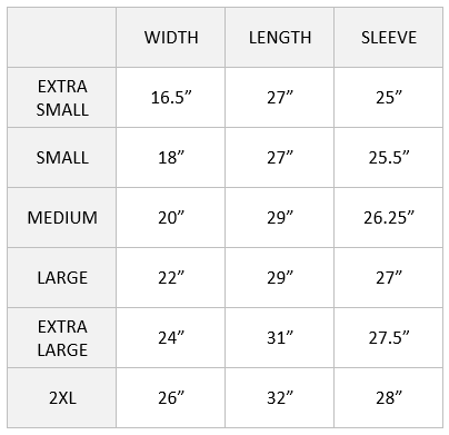 apari long sleeve size chart