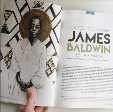 "Leah Chappell's illustration ""St. James"" featured in France-Amerique in a compelling and beautifully written article about James Baldwin"