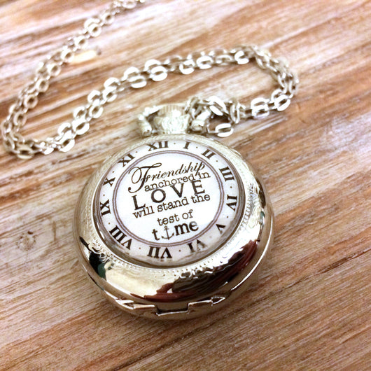 Friendship Anchored Pocket Watch Necklace
