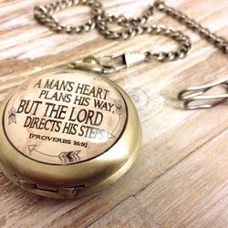 Men's Proverbs 16:9 Pocket Watch