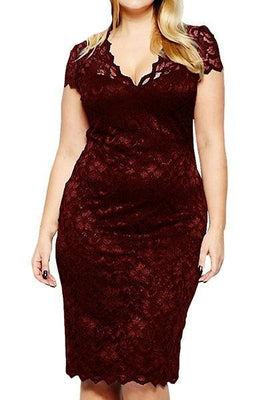 MB Fashion Burgundy Plus Size Lace Dress 518