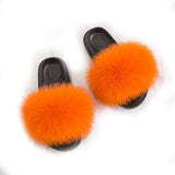 MB Fashion ORANGE 97 Fur Sandals Slides