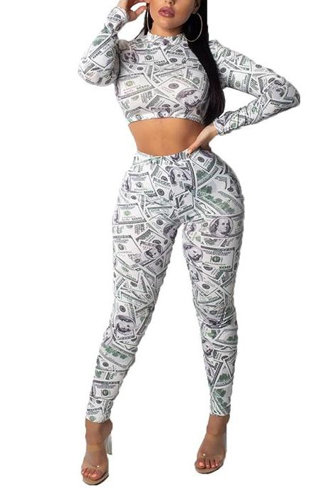 MB fashion Money Print 2 PCs Set 6788
