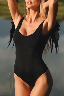 MB Fashion Angel Wings BLACK  Swimming Suit LYB 008