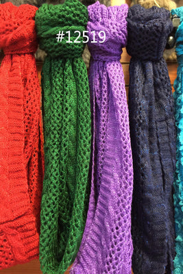 AAX 12519 Fashion infinity Scarf Assorted Colors / 6 PCS