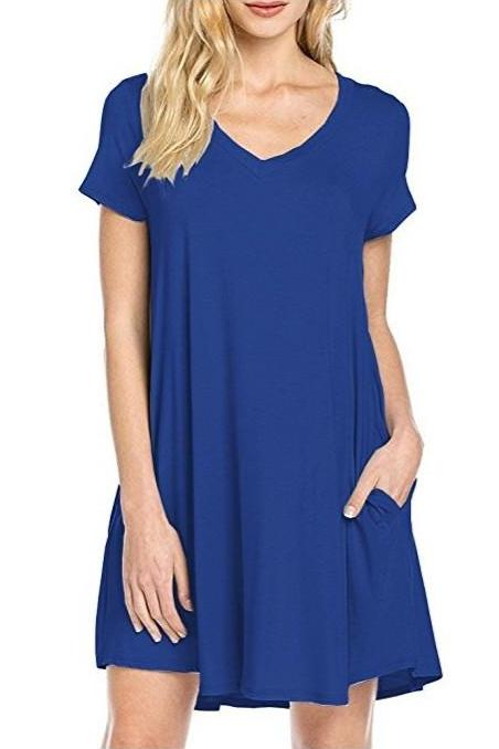 MB Fashion Blue T Shirt Dress 8042