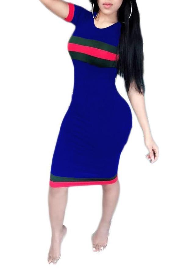 MB Fashion BLUE Striped Dress 7009