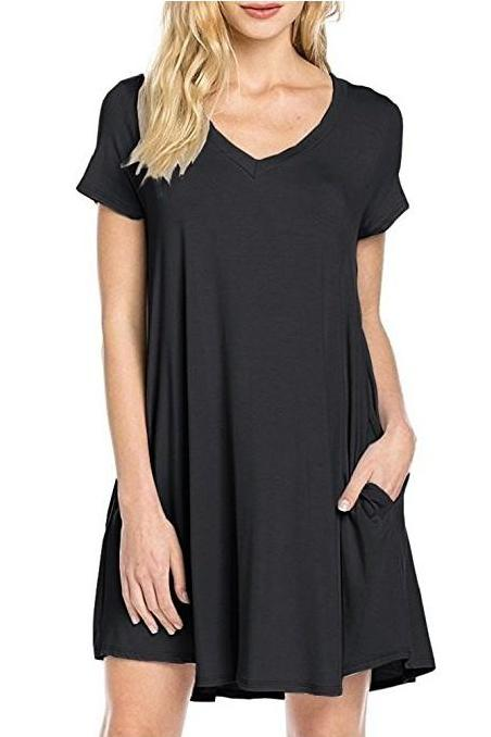 MB Fashion Black T Shirt Dress 8042