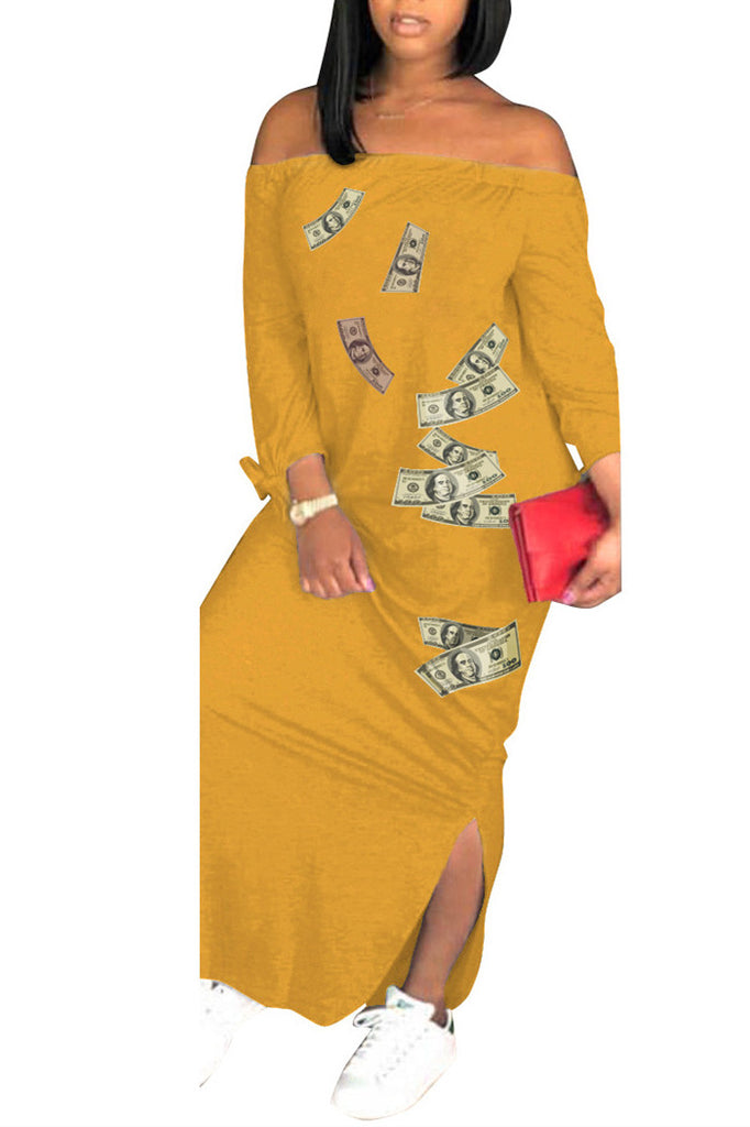 ebay YELLOW Money Print Dress 1507