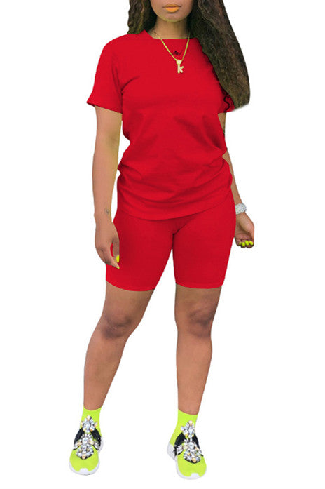 MB Fashion Solid RED 2 PCs Set 6664