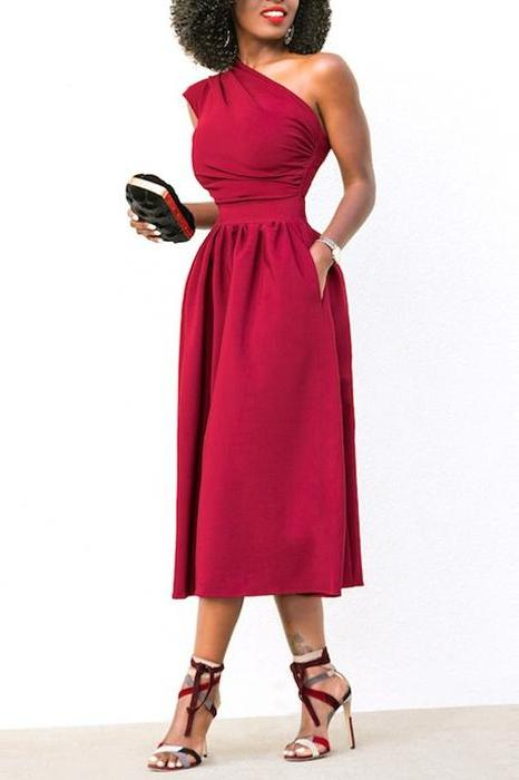 MB fashion Red Dress mb 4128