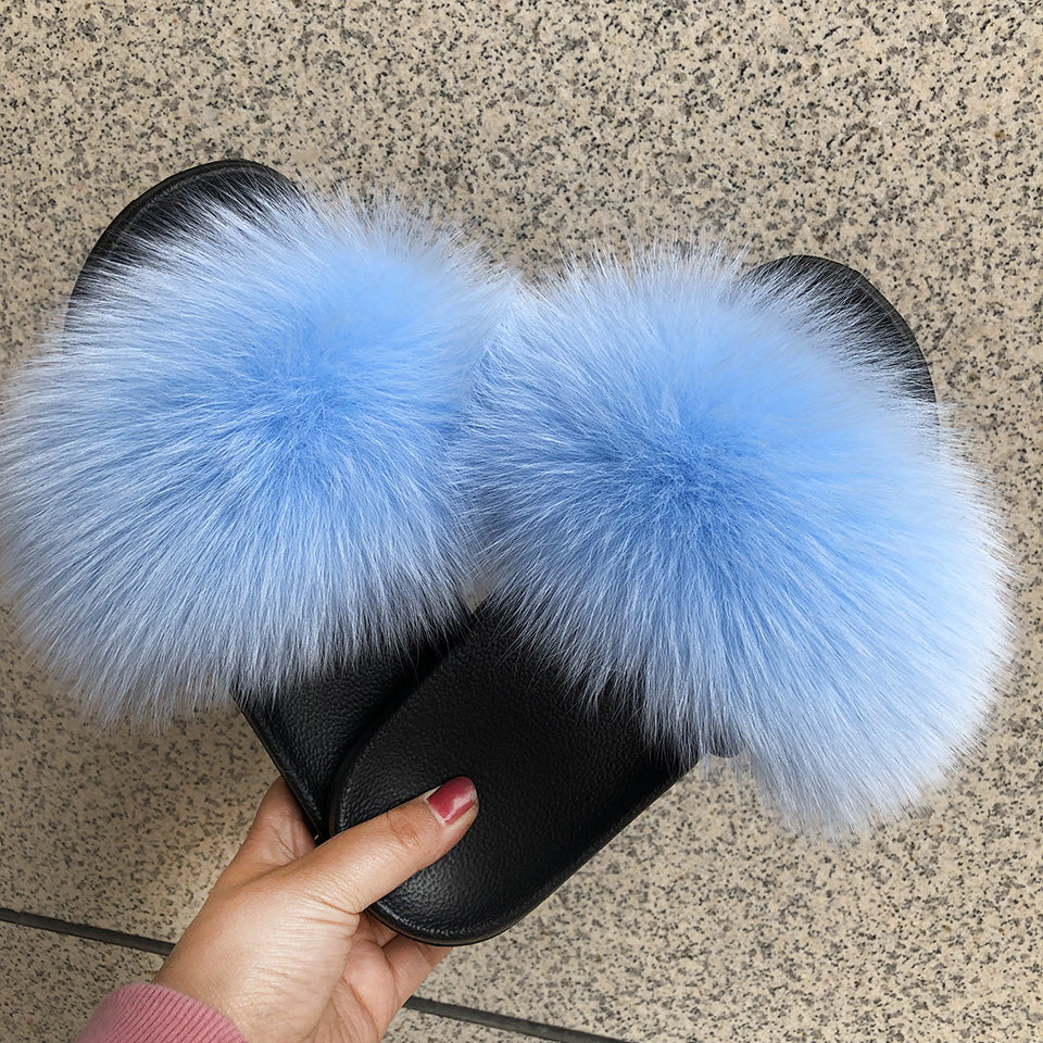 MB Fashion SKY BLUE 92 Fur Sandals