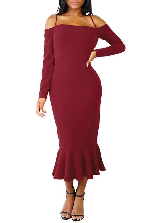 MB Fashion Burgundy Dress 2583