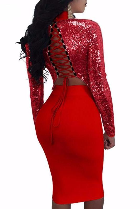MB fashion 2 PCs Set Dark Red 3444