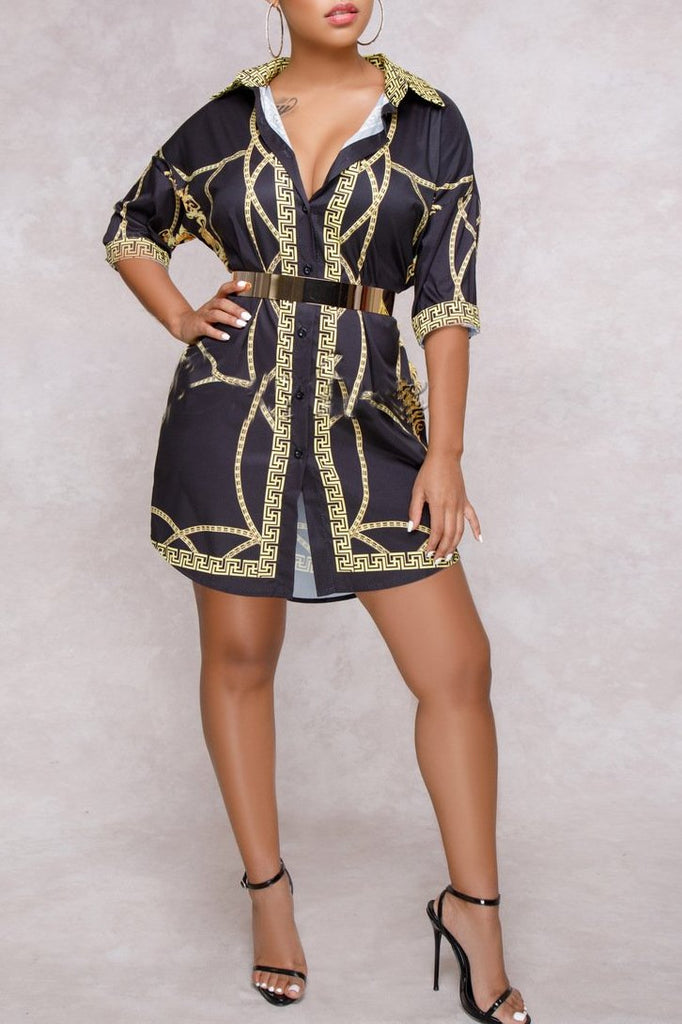 MB Fashion Shirt Dress Multi Black 8842