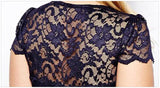 MB Fashion Navy Plus Size Lace Dress 518