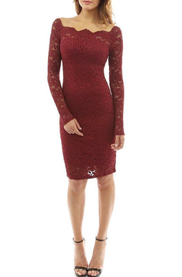 MB Fashion Burgundy Plus Size Lace Dress 9051