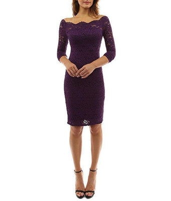 MB Fashion Purple Plus Lace Dress 9051