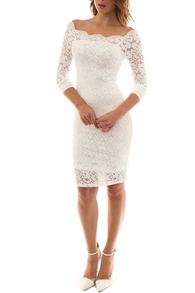 EBAY White Plus Size Lace Dress 9051