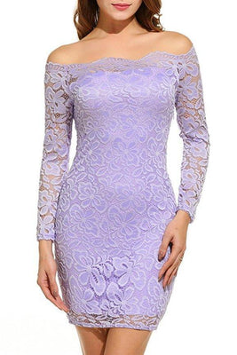 MB Fashion L-Purple Plus Lace Dress 9051