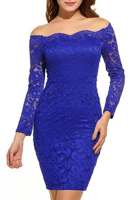 MB Fashion Blue Plus Size Lace Dress 9051