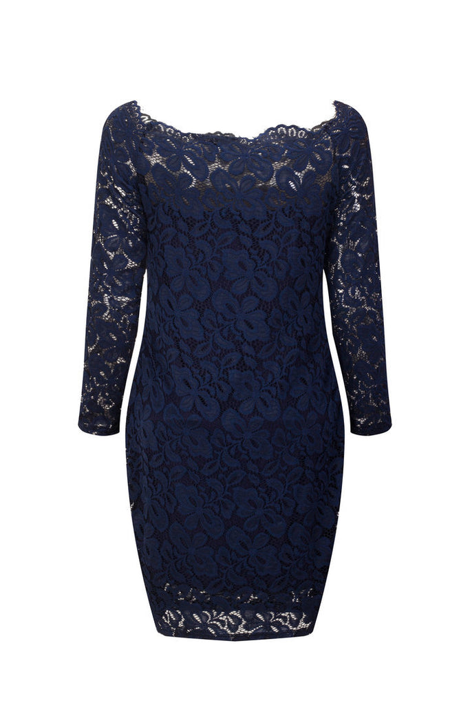 MB Fashion Navy Plus Size Lace Dress 9051
