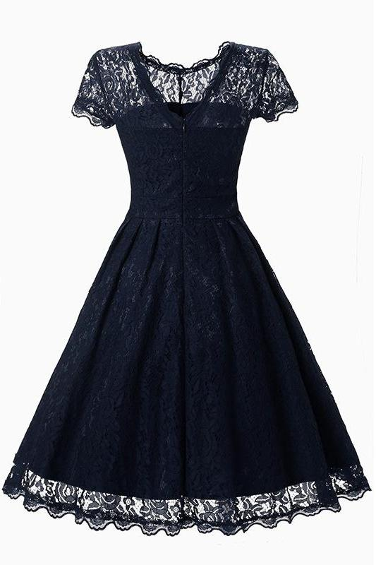 MB Fashion High Quality Navy Lace Dress 1523