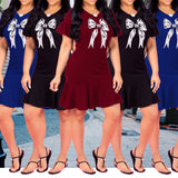 MB Fashion Rosette Dress Burgundy 5408