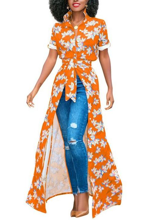 MB fashion Floral Shirt Dress Orange 5931