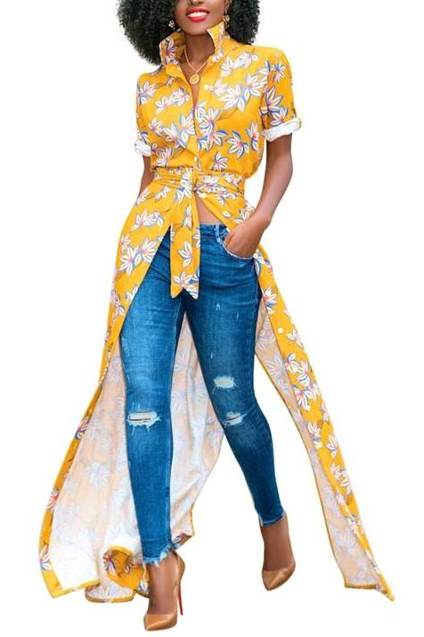 MB fashion Floral Shirt Dress Yellow 5931