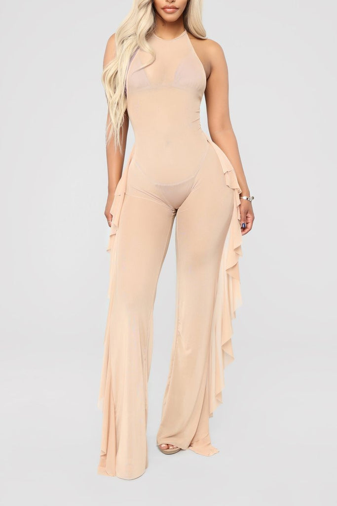 MB fashion Beige Jumpsuit 6706