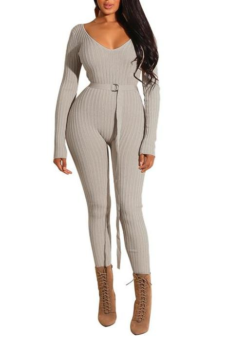 MB Fashion Beige Jumpsuit 8012